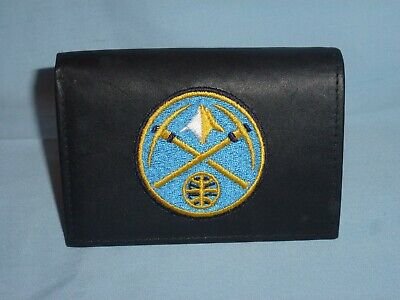 DENVER NUGGETS  embroidered Leather TriFold Wallet NEW in TIN BOX  black  (Denver Nuggets Wallet)