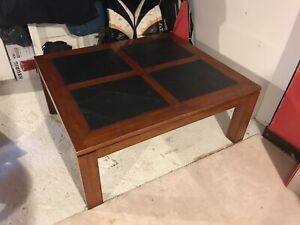 Solid wood stone coffee table
