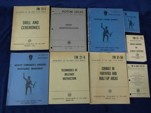Lot 9 Vintage Vietnam Era Army Manuals FM 31-50 FM 31-73 FM21-6