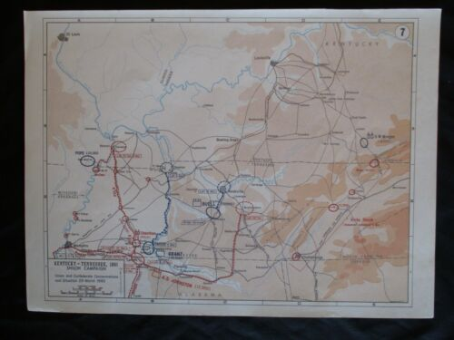 Civil War Map of Kentucky - Tennessee, 1861, Shiloh Campaign 1862 - FRAME 4 GIFT