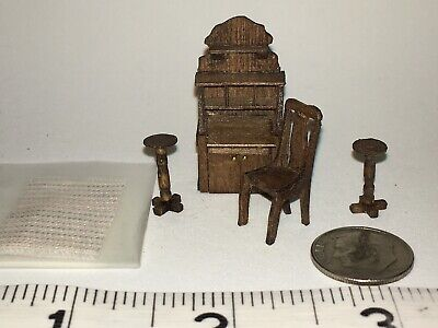 """- 1/4 """" Scale Artisan Doll House Desk, Chair, 2 Pedestals By Sue Hoeltge Rug"""