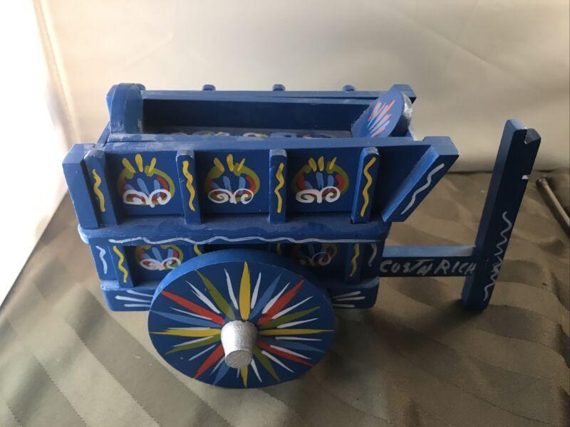 Costa Rica Hand Painted Blue Horse Wagon/ Cart Souvenir