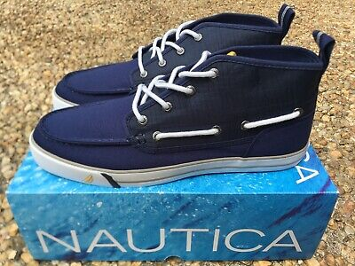 Nautica Deck Shoes (NEW Nautica Deck Shoes Mid Men's Navy Blue White Canvas & Nylon Boat NM259F )