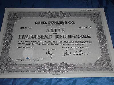 753 : histor. Wertpapier /Aktie , Gebr. Böhler & Co. , Wien Juli 1942 , 1000 RM