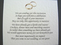 20 Wedding Poems Asking For Money Gifts Not Presents Ref No 7 -  - ebay.co.uk