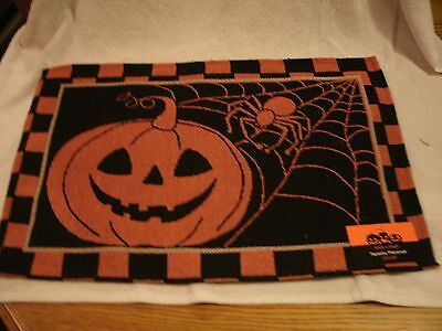 Set Of 4 Black and Orange Halloween Pumpkin and Spider 13x19 Tapestry Placemats  (Black And Orange Spider)