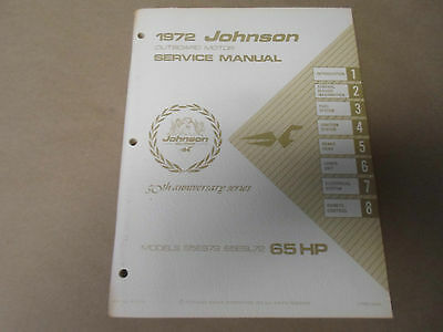 1972 Johnson Outboards Service Shop Repair Manual 65 HP 65ES72 65ESL72 OEM NEW X