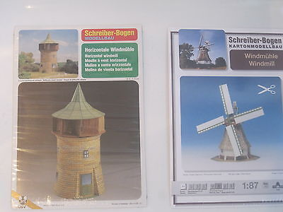 2x Windmühle 2 Bausätze Kartonbausatz *NEU* Schreiber- Bastelbogen (Weiße Bau Papier)