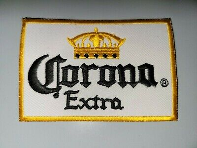 """CORONA EXTRA"""" BEER  WHITE & BLUE Embroidered 3.5"""" x 2.25"""" Iron On Patch"""