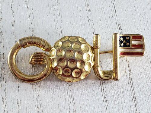 Vintage Brooch Pin Gold Tone GOLF Ball Club Patriotic  American Flag