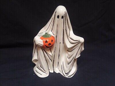"vintage ceramic 9"" tall ghost holding pumpkin byron mold 1972"