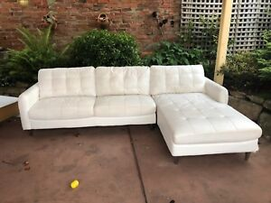 White leather look couch