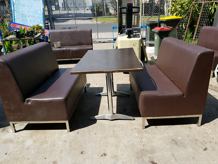 Commercial hospitality brown vinyl booth couches with chromesteel Coburg North Moreland Area Preview