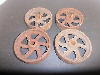 Vintage Original Cast Iron Stationary Engine Cart Wheels - Matched Set Of Four