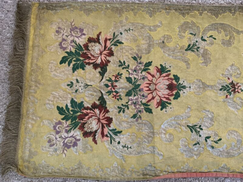 Antique French Hand Woven Textile Table Runner Dresser Scarf Metal Thread Work