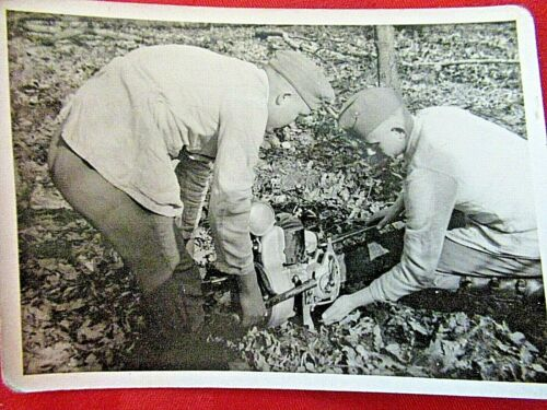 WWII Original German Photo Combat Soldiers Pioneers using chain saw