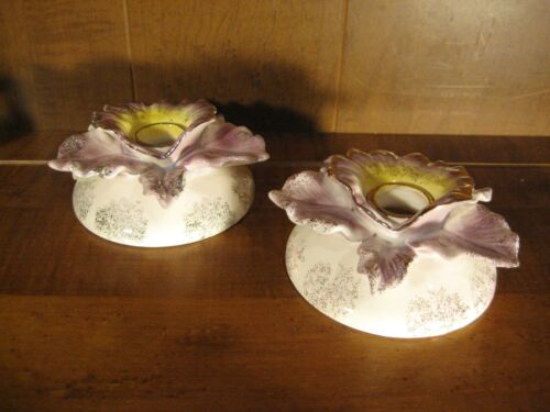 Orchid Flower Ceramic Candle Holder Pair Commodore Japan - Vintage Mothers Day