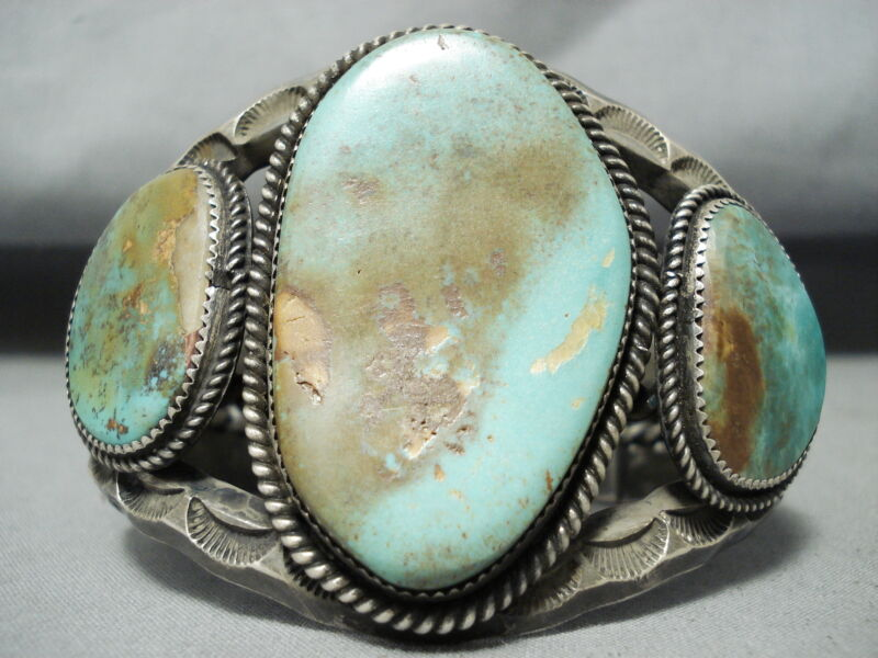 ONE OF THE BEST EVER VINTAGE NAVAJO ROYSTON TURQUOISE STERLING SILVER BRACELET
