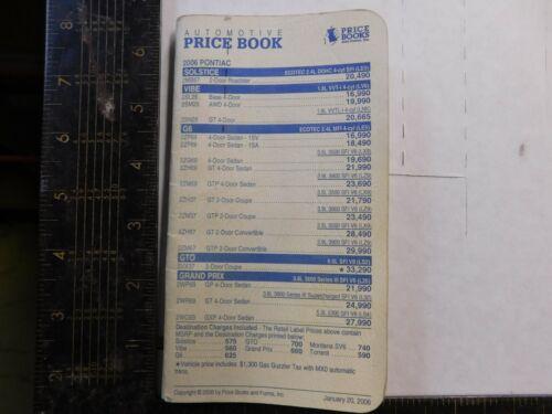 2006 PONTIAC SALESMAN PRICE BOOKLET