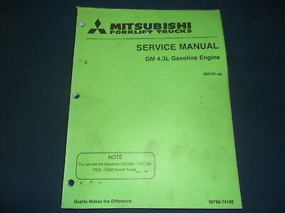 Mitsubishi Gm 4.3l Gas Engine For Forklift Service Shop Repair Workshop Manual