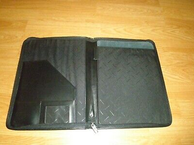 Leather Zip Around Padfolio Organizer With Letter Note Pad Pen Holder