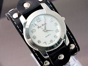 Fred Belay Watch Designer Fashion Wide Black Leather Band Rocker Studded