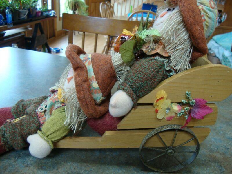 FALL CART with 2 SCARECROWS AUTUMN HARVEST TABLE FARMHOUSE HOME DECOR