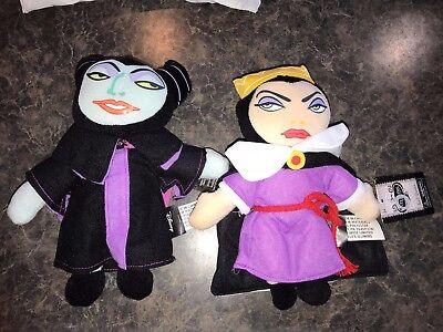 New Lot Set of 2 Plush Evil Villains Dolls Maleficent & Evil Queen Disney - Disney Villains Halloween Decorations