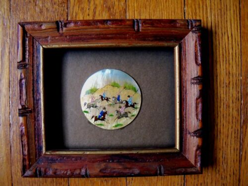 Vintage Persian Fine Miniature Painting on a Mother of Pearl Shell