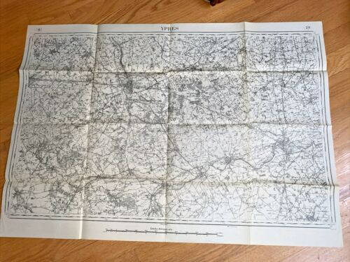 WW I FRENCH MAP  YPRES , PROVINCE OF FLANDERS  BELGIUM