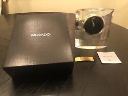 Movado Crystal Mantle Desk Clock w/ Gold plate for custom engraving