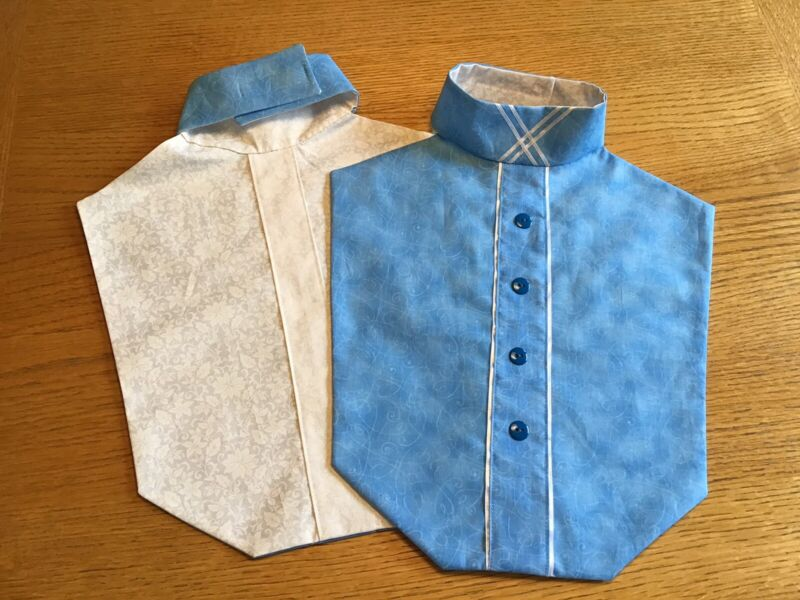 Premium English Hunt Seat Show Dickie Blue Reversible X Collar Blue Buttons