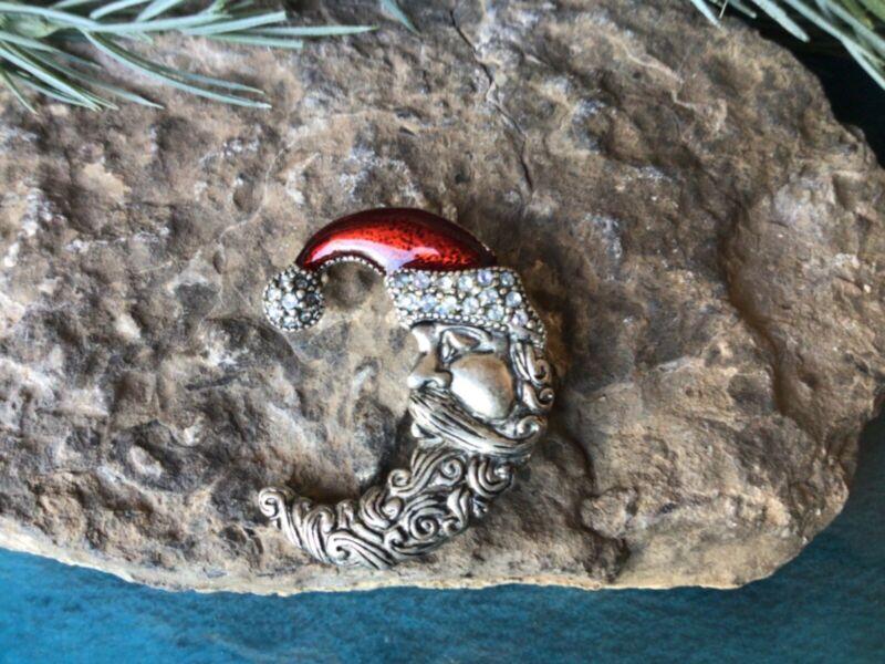 Moon Santa Enamel Rhinestone Christmas Holiday Brooch Pin Stamped TC