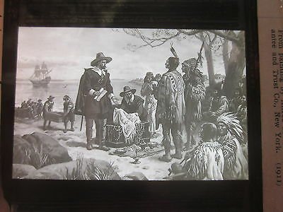 1911 Purchase of Manhattan Island by Governor Minuit glass photo slide