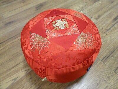 Zafu Meditation Yoga Cushion With Carrying Handle Silk Brocade Nepal Red Kapok for sale  Shipping to Ireland