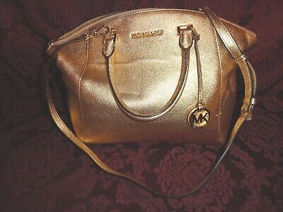 Michael Kors Women's Large Gold Crossbody Bag Handbag Purse (Usa Michael Kors)