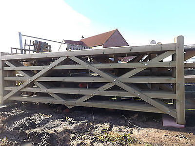 12 foot Five bar wooden gate Field gate Entrance gate 5 bar gate