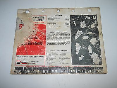 1965-1975 BORG WARNER TUNE UP SPECIFICATIONS DOMESTIC AND FOREIGN CAR BOOKLET