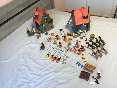 Lot Playmobil médiéval Vintage middle age houses maisons chevaliers Knights 70´s