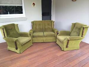 FREE - LOUNGE / COUCH + TWO CHAIRS RETRO with TIMBER BASES Roseville Chase Ku-ring-gai Area Preview