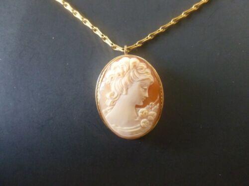 Vintage Van Dell Pink Cameo Pendant Necklace Brooch 1/12 12K GF