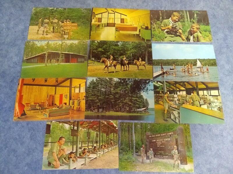 Lot 11 NY Narrowsburg TEN MILE RIVER BOY SCOUT CAMPS MINT postcard -  BS1