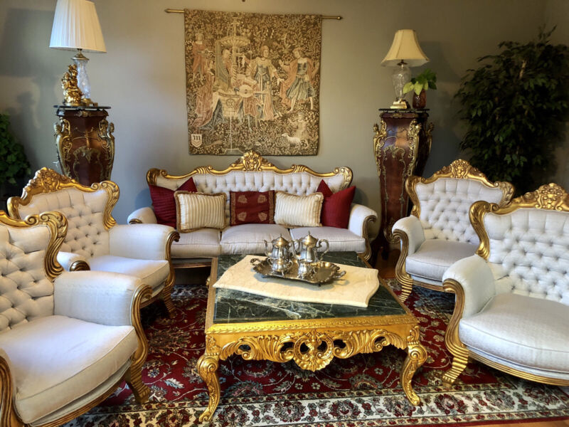 French Grand Salon With Four Throne Chairs