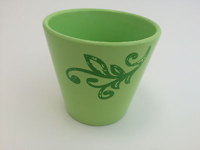 """Accents by Decowraps Pottery Ceramic Planter Pot Floral Lime Green Small 4"""" x 4"""""""