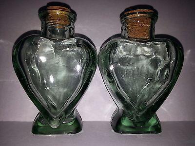 "Lot of 2 Clear Glass Unity Heart Shape Bottles Cork Figurine 4.5"" Tall Wedding"