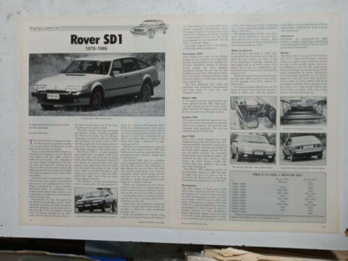 ROVER SD1 V8 1978 TO 1986 AUSTRALIAN MAGAZINE SECONDHAND CAR BUYING GUIDE