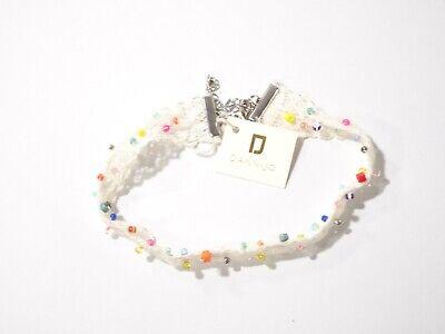 Dannijo Womens Cream Lace Multi Color Bead Choker Necklace NWT 210