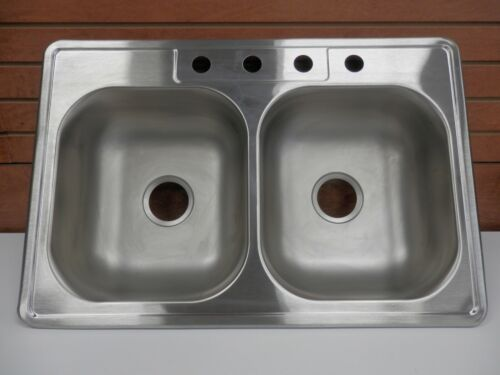 """ELKAY 33"""" X 22"""" STAINLESS STEEL DOUBLE EQUAL BOWL 4HOLE KITCHEN SINK 876318"""