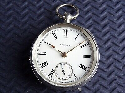 1908 Nice Large Silver WALTHAM 18s Gents Pocket Watch. Key Wound. Antique