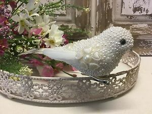 White-Beaded-Clip-On-Love-Dove-Peace-Vintage-Bird-Wedding-Christmas-Decoration